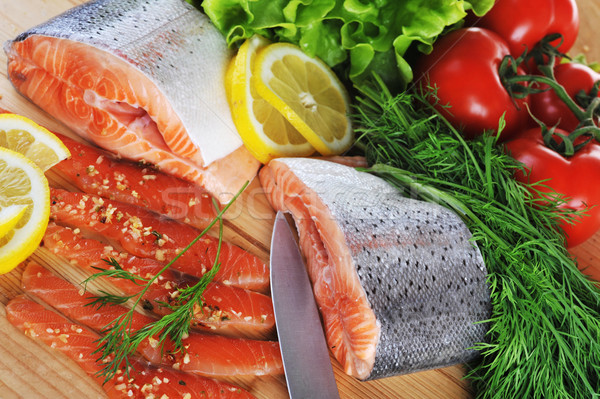 Piezas salmón madera peces metal verde Foto stock © taden