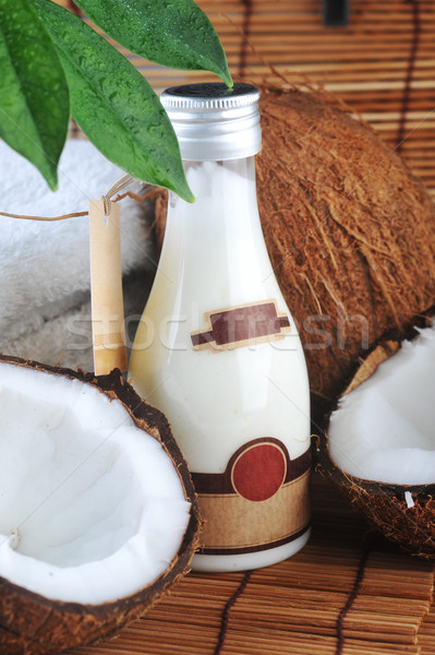 Kokosnoot lichaam stro servet geneeskunde Stockfoto © taden