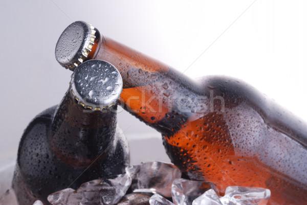 Marrón botellas cerveza vidrio caída fresco Foto stock © taden