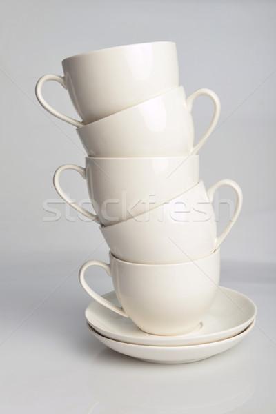 Kahve fincanları beyaz çay kahvaltı fincan temizlemek Stok fotoğraf © taden
