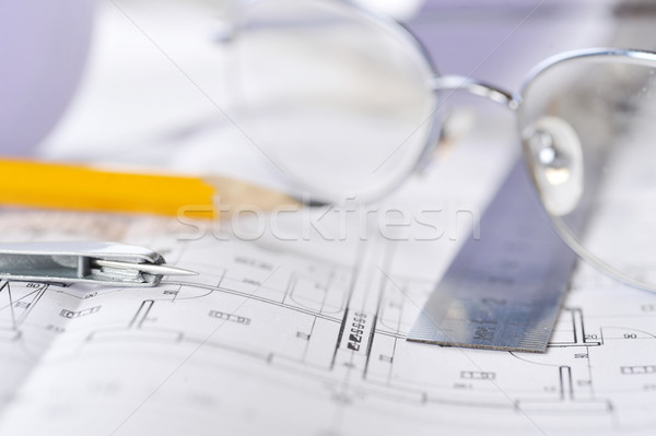 Cetvel silgi gözlük kalem iş Stok fotoğraf © taden