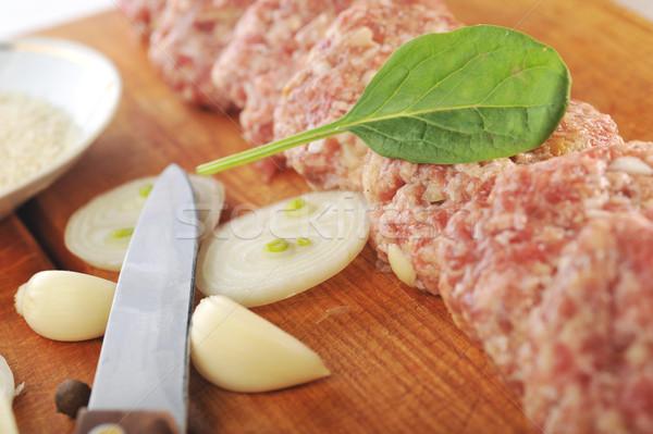 Cebolla huevo alimentos madera cocina mesa Foto stock © taden