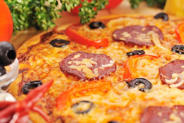 ízletes pizza különböző étel sajt hús Stock fotó © taden