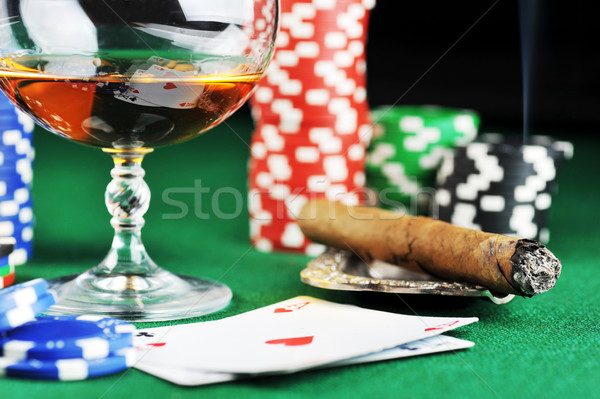 Stock photo: drink and playing cards