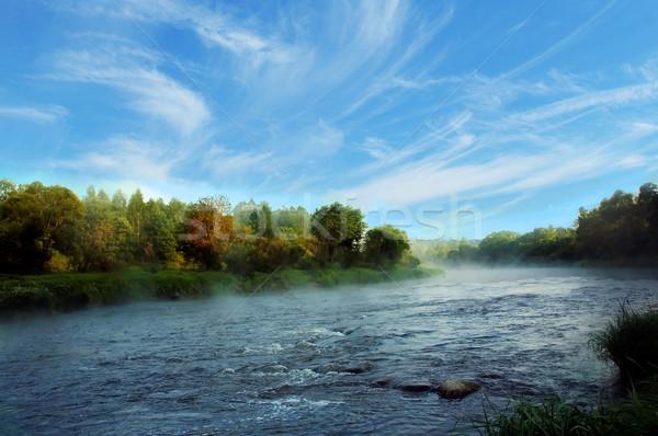 Madrugada banco río cielo árbol nubes Foto stock © taden