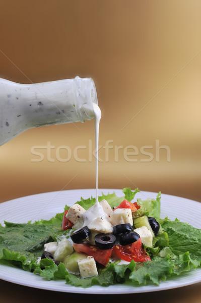 Fetasajt friss zöldségek közelkép kert étterem tyúk Stock fotó © taden