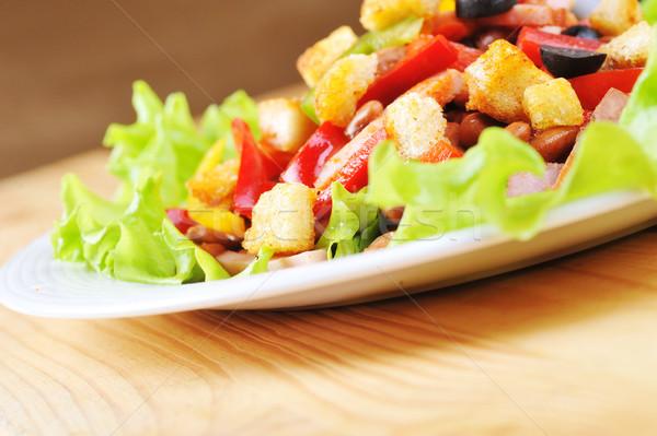 Салат пластина свежие вкусный таблице белый Сток-фото © taden