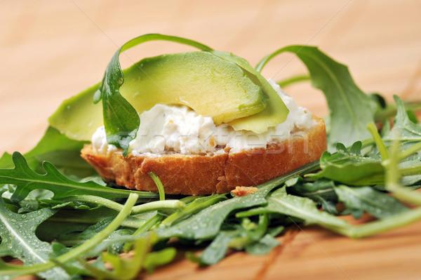 Szendvics pirított kenyér finom gyümölcs zöld Stock fotó © taden