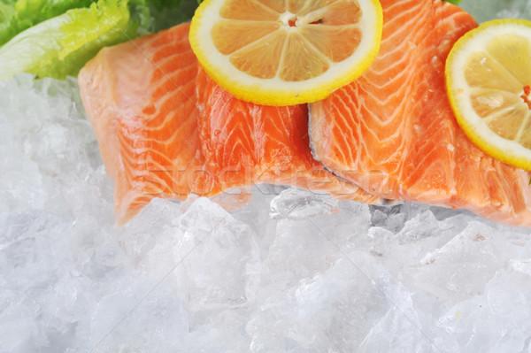красный рыбы льда частей лимона рынке Сток-фото © taden