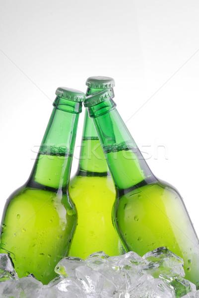 Verde botellas cerveza vidrio bebidas caída Foto stock © taden