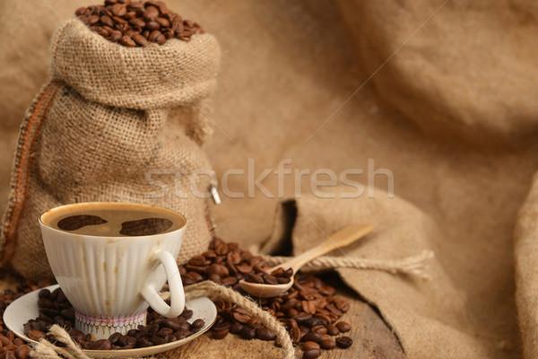 Stock fotó: Kávé · csésze · zsák · mögött · feketekávé · kávé