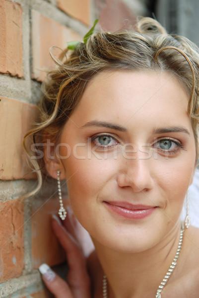 花嫁 肖像 石の壁 愛 ファッション 自然 ストックフォト © taden
