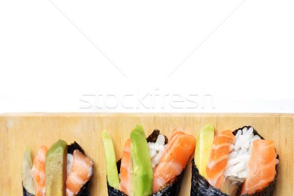 Taze sushi lezzetli koni ahşap plaka Stok fotoğraf © taden