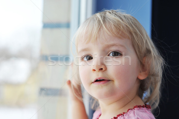 Lány ablak figyelmes kislány portré ház Stock fotó © taden