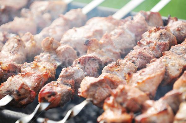 Stock fotó: Hús · szeletek · előkészítés · mártás · tűz · füst