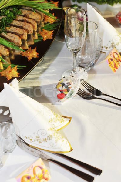 Asztal étel ital gála recepció üveg Stock fotó © taden