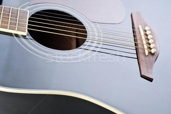 Nero chitarra dettaglio acustico suono buco Foto d'archivio © taden