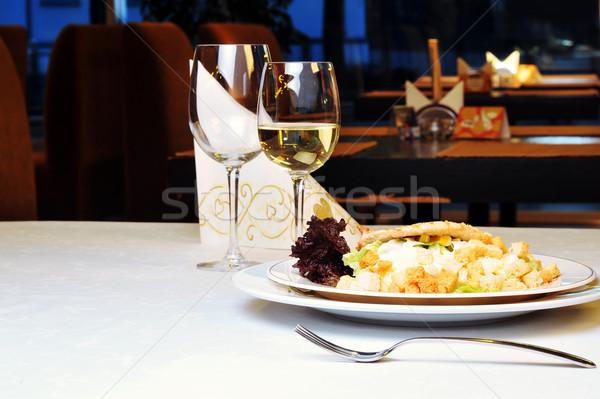 Ayarlamak yemek modern restoran şarap cam Stok fotoğraf © taden