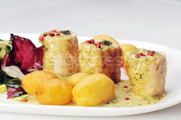 Turquía filete queso frito relleno hortalizas Foto stock © taden