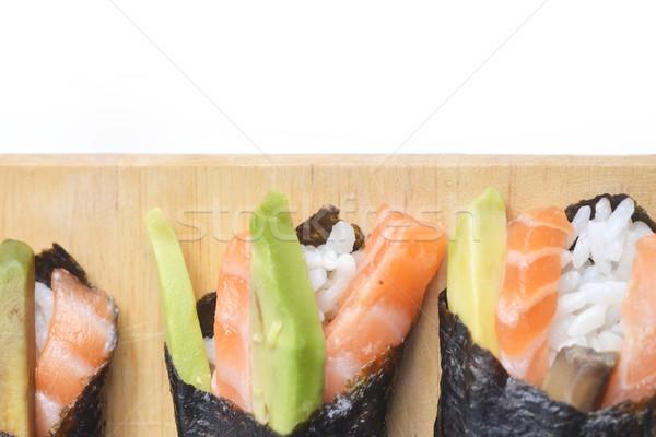 Fresche sushi gustoso cono legno piatto Foto d'archivio © taden