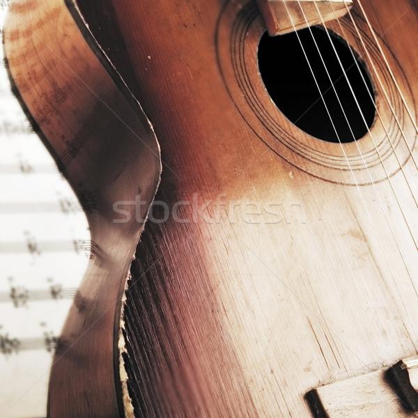 Akusztikus gitár fektet kotta zene klasszikus minta Stock fotó © taden