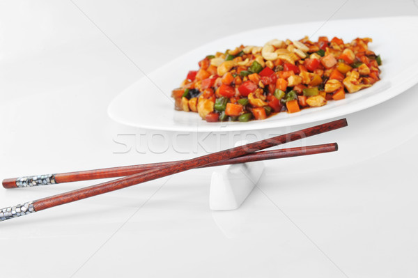 Stock photo: chinese food on plate close up