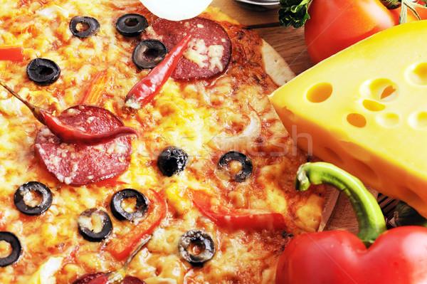 Stockfoto: Smakelijk · pizza · tomaten · kaas · zwarte · olijven