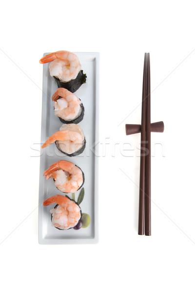 Sushi bianco piatto bacchette Foto d'archivio © taden
