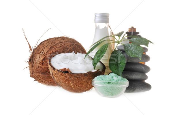 Coconut,salt and stones Stock photo © taden