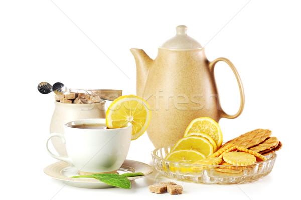Кубок чай чайник домой стекла торт Сток-фото © taden