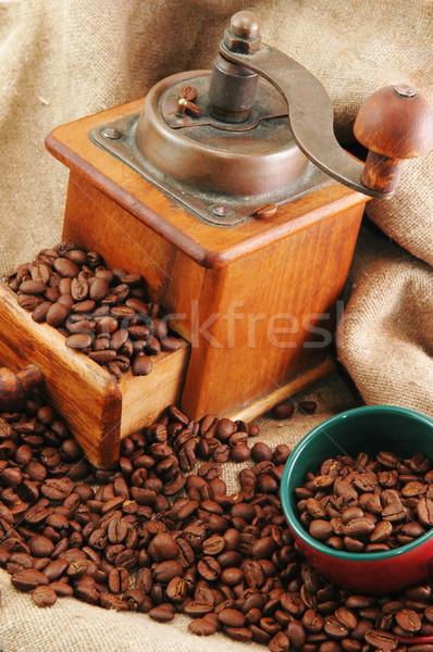 Retro kahve öğütücü fincan çanta gıda Stok fotoğraf © taden