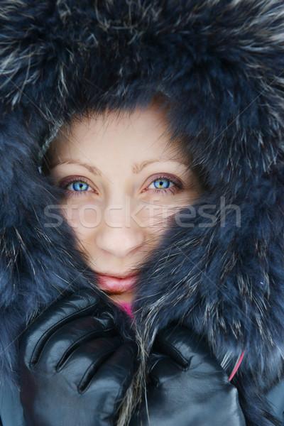 Genç kadın kış kürk kadın yüz kadın Stok fotoğraf © taden