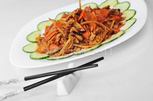 Párolt zöldségek hús kínai konyha fa Stock fotó © taden