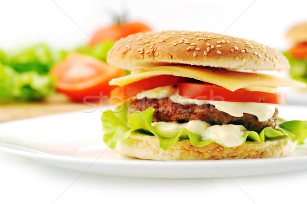 Hamburger warzyw naczyń tabeli grupy mięsa Zdjęcia stock © taden