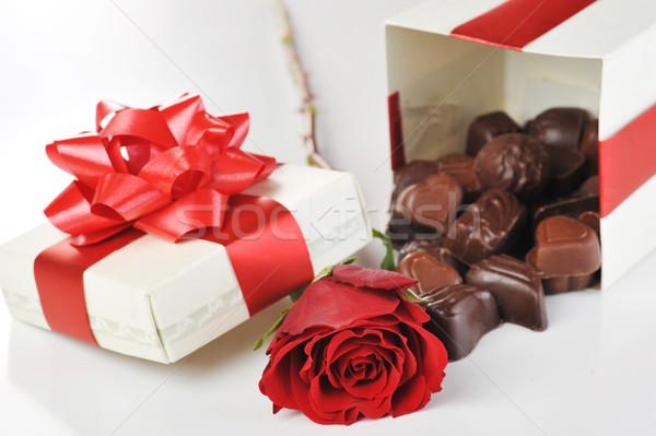 chocolates and rose Stock photo © taden