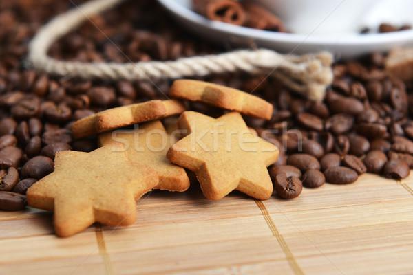 Stockfoto: Koffiebonen · cookies · houten · drinken · objecten