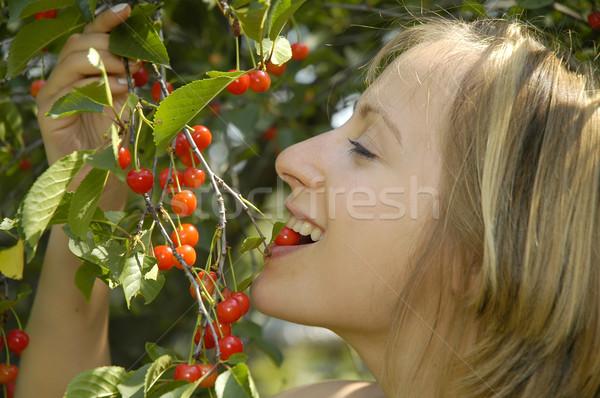 nice girl in the garden with cherry Stock photo © taden