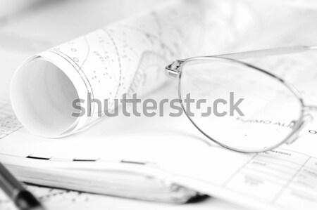 Gobernante borrador gafas lápiz negocios Foto stock © taden