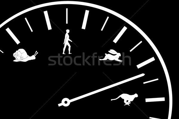 Auto Tacho Symbole Geschwindigkeit Tier menschlichen Stock foto © taden