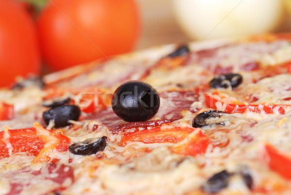 ピザ トマト チーズ ブラックオリーブ ピーマン ストックフォト © taden