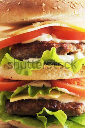 Hamburger warzyw tabeli grupy mięsa Zdjęcia stock © taden