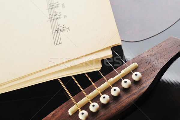 Akustik gitar notalar gitar konser beyaz oynamak Stok fotoğraf © taden