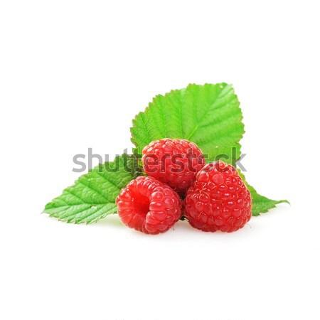 赤 ラズベリー 緑の葉 食品 ストックフォト © taden