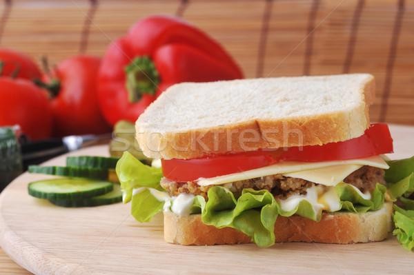 Szendvics zöldségek hazugságok tányér étel konyha Stock fotó © taden