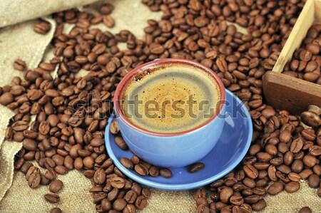 Granos de café azúcar taza café alimentos fondo Foto stock © taden