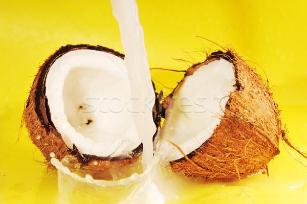 ココナッツミルク スプラッシュ ココナッツ 黄色 ストックフォト © taden
