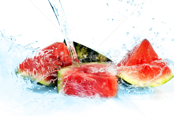 Friss görögdinnye csobbanás izolált természet gyümölcs Stock fotó © taden