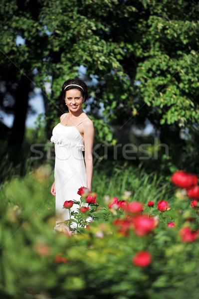 Noiva flores vestido branco caminhada casamento grama Foto stock © taden