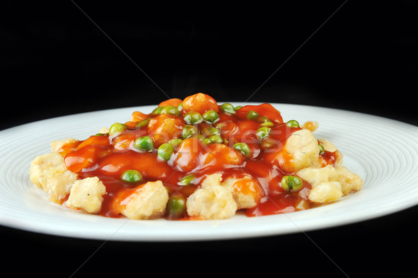 Tavuk kırmızı sos derin tavuk kızartma Çin Stok fotoğraf © taden