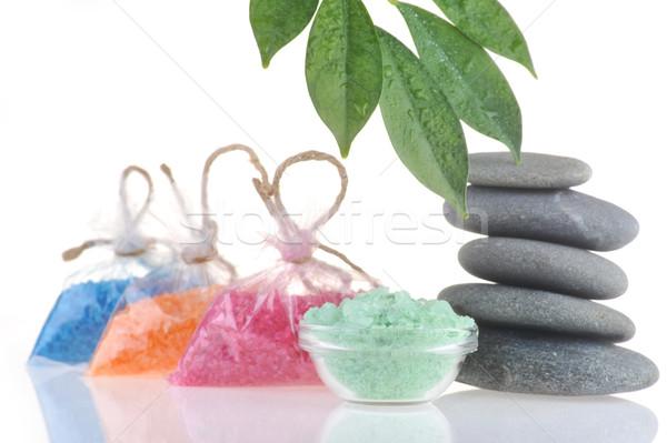 соль ванны полотенце камней белый тело Сток-фото © taden
